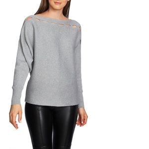 1.State Cutout Boat Neck Long Sleeve Sweater Gray